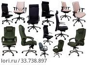 Купить «Collection of office chairs», фото № 33738897, снято 25 октября 2017 г. (c) Яков Филимонов / Фотобанк Лори