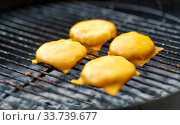 close up of meat cutlet with cheese on grill. Стоковое фото, фотограф Syda Productions / Фотобанк Лори