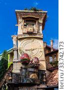 Falling Clock tower of puppet theater Rezo Gabriadze in old town of Tbilisi. Georgia. Стоковое фото, фотограф Николай Коржов / Фотобанк Лори