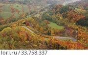 Купить «Scenic aerial view of bends of road between trees on hillsides in autumn», видеоролик № 33758337, снято 18 октября 2019 г. (c) Яков Филимонов / Фотобанк Лори