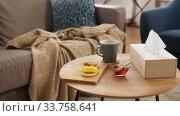 Купить «cup of tea, lemon, honey and ginger at home», видеоролик № 33758641, снято 26 апреля 2020 г. (c) Syda Productions / Фотобанк Лори