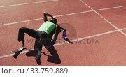 Купить «Disabled mixed race man with prosthetic legs lying on race track», видеоролик № 33759889, снято 17 марта 2020 г. (c) Wavebreak Media / Фотобанк Лори
