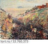 Camille pissarro (1830 1903) boulevard montmartre mardi gras au coucher du soleil 1897. (2019 год). Редакционное фото, фотограф Artepics / age Fotostock / Фотобанк Лори