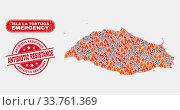 Купить «Vector collage of wildfire Isla La Tortuga map and red rounded scratched Antibiotic Resistance watermark. Emergency Isla La Tortuga map mosaic of burning, power flash symbols.», фото № 33761369, снято 26 мая 2020 г. (c) age Fotostock / Фотобанк Лори