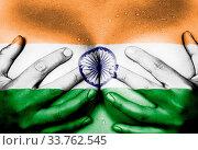 Купить «Sweaty upper part of female body, hands covering breasts, flag of India», фото № 33762545, снято 5 июня 2020 г. (c) age Fotostock / Фотобанк Лори