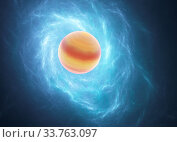 Купить «Glowing blue curved lines over bright Abstract Background with planet space universe. Illustration.», фото № 33763097, снято 28 мая 2020 г. (c) age Fotostock / Фотобанк Лори