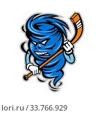 Купить «Mascot icon illustration of a tornado, twister or cyclone ice hockey player holding stick viewed from front on isolated background in retro style.», фото № 33766929, снято 27 мая 2020 г. (c) easy Fotostock / Фотобанк Лори