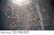 Купить «Man trying to chop dry log with an ax in woodpile», видеоролик № 33769037, снято 2 июня 2020 г. (c) Константин Шишкин / Фотобанк Лори