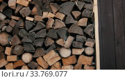 Купить «Chopping wood with an axe», видеоролик № 33769077, снято 2 июня 2020 г. (c) Константин Шишкин / Фотобанк Лори