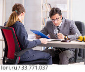 Купить «Lawyer talking to client in office», фото № 33771037, снято 31 июля 2018 г. (c) Elnur / Фотобанк Лори
