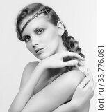 Купить «Black and white portrait in high key tone female with creative hairdo braids», фото № 33776081, снято 30 января 2012 г. (c) Serg Zastavkin / Фотобанк Лори