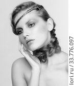 Купить «Black and white portrait in high key tone female with creative hairdo braids», фото № 33776097, снято 30 января 2012 г. (c) Serg Zastavkin / Фотобанк Лори