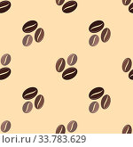 Купить «Vector colorful flat design various brown coffee beans deco seamless pattern beige background», фото № 33783629, снято 3 июня 2020 г. (c) easy Fotostock / Фотобанк Лори