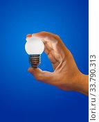 Lighting lamp in hand on blue background. Стоковое фото, фотограф Zoonar.com/Nikolai Sorokin / easy Fotostock / Фотобанк Лори
