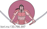 Drawing sketch style illustration of a raging Samurai warrior holding two swords viewed from front set inside oval on isolated background. Стоковое фото, фотограф Zoonar.com/patrimonio designs limited / easy Fotostock / Фотобанк Лори