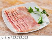 Купить «Boiled pork ham slices», фото № 33793353, снято 3 июня 2020 г. (c) Яков Филимонов / Фотобанк Лори
