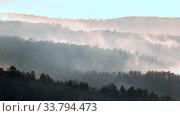 Panorama of the Ural taiga at dawn. Morning fog. Bashkortostan. Стоковое фото, фотограф Акиньшин Владимир / Фотобанк Лори