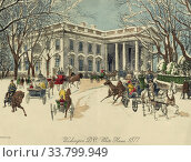 The White House, Washington D. C. United States of America. Horse drawn carriages and pedestrians near the north portico in the winter of 1877. After a... Редакционное фото, фотограф Classic Vision / age Fotostock / Фотобанк Лори