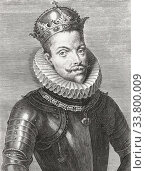 King Philip III of Spain and as Philip II, King of Portugal, 1578 - 1621. Felipe III in Spanish. Filipe II, in Portuguese. Nicknamed the Pious. After a 17th century engraving. Редакционное фото, фотограф Classic Vision / age Fotostock / Фотобанк Лори