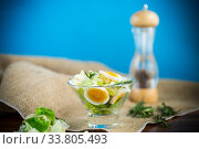 fresh spring salad with cabbage, lettuce and boiled eggs with rosemary and spices. Стоковое фото, фотограф Peredniankina / Фотобанк Лори