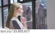 Businesswoman looking away in conference room. Стоковое видео, агентство Wavebreak Media / Фотобанк Лори
