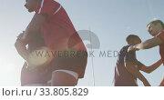 Купить «Rugby players meeting opposing team on the field», видеоролик № 33805829, снято 13 ноября 2019 г. (c) Wavebreak Media / Фотобанк Лори