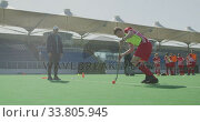 Купить «Hockey players preparing before a game», видеоролик № 33805945, снято 18 ноября 2019 г. (c) Wavebreak Media / Фотобанк Лори