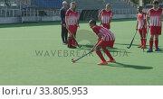 Купить «Hockey players preparing before a game», видеоролик № 33805953, снято 18 ноября 2019 г. (c) Wavebreak Media / Фотобанк Лори