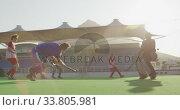 Hockey players during a match. Стоковое видео, агентство Wavebreak Media / Фотобанк Лори
