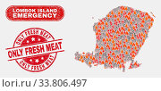 Купить «Vector collage of hazard Lombok Island map and red round grunge Only Fresh Meat seal stamp. Emergency Lombok Island map mosaic of fire, electric hazard icons.», фото № 33806497, снято 26 мая 2020 г. (c) age Fotostock / Фотобанк Лори
