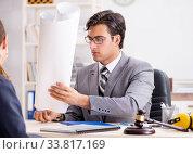 Купить «Lawyer talking to client in office», фото № 33817169, снято 31 июля 2018 г. (c) Elnur / Фотобанк Лори