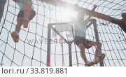 Купить «Caucasian boys training at boot camp », видеоролик № 33819881, снято 7 февраля 2020 г. (c) Wavebreak Media / Фотобанк Лори