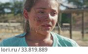 Купить «Caucasian girl at boot camp », видеоролик № 33819889, снято 7 февраля 2020 г. (c) Wavebreak Media / Фотобанк Лори