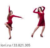 Купить «Woman dancing isolated on the white», фото № 33821305, снято 14 марта 2013 г. (c) Elnur / Фотобанк Лори