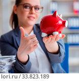 Купить «The businesswoman in pension savings concept», фото № 33823189, снято 27 мая 2020 г. (c) easy Fotostock / Фотобанк Лори