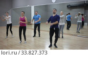 Купить «Group of happy adult people enjoying active social dances in modern dance studio», видеоролик № 33827373, снято 27 января 2020 г. (c) Яков Филимонов / Фотобанк Лори