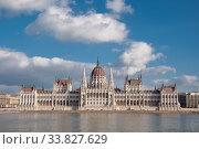 Hungarian Parliament Building on the bank of the Danube in Budapest. Стоковое фото, фотограф Алеся Дмитриенко / Фотобанк Лори