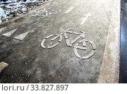 Купить «Bicycle lane for bike rider», фото № 33827897, снято 2 ноября 2019 г. (c) FotograFF / Фотобанк Лори