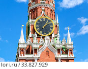 Купить «Chimes clock on Spasskaya tower of the Moscow Kremlin», фото № 33827929, снято 9 июля 2019 г. (c) FotograFF / Фотобанк Лори