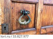 Wooden door with doorknob made of bronze. Стоковое фото, фотограф FotograFF / Фотобанк Лори