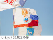 Купить «Russia, Samara, September 2019: the flag of the Russian football union», фото № 33828049, снято 31 августа 2019 г. (c) Акиньшин Владимир / Фотобанк Лори