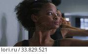 Купить «Multi-ethnic group of fit female modern dancers practicing a dance routine», видеоролик № 33829521, снято 4 декабря 2019 г. (c) Wavebreak Media / Фотобанк Лори