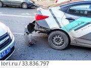 Купить «Car-sharing car crashed in an accident», фото № 33836797, снято 5 октября 2019 г. (c) FotograFF / Фотобанк Лори