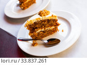 Купить «Slice of carrot cake», фото № 33837261, снято 15 июля 2020 г. (c) Яков Филимонов / Фотобанк Лори