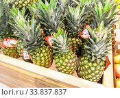 Fresh pineapple fruits are sold at the hypermarket. Редакционное фото, фотограф FotograFF / Фотобанк Лори