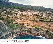 Picturesque cove and Mediterranean Sea of Banyalbufar village. Mallorca, Spain (2018 год). Стоковое фото, фотограф Alexander Tihonovs / Фотобанк Лори