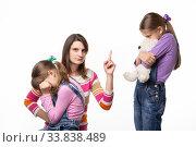 Купить «Мама жестко разговаривает с дочкой за то что она обидела свою сестру и посмотрела в кадр», фото № 33838489, снято 15 мая 2020 г. (c) Иванов Алексей / Фотобанк Лори