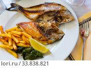 Купить «Fried cut dorada fish», фото № 33838821, снято 26 мая 2020 г. (c) Яков Филимонов / Фотобанк Лори