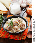 Meatballs with rice in a creamy sauce. Стоковое фото, фотограф Надежда Мишкова / Фотобанк Лори
