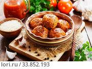 Meatballs with rice. Стоковое фото, фотограф Надежда Мишкова / Фотобанк Лори